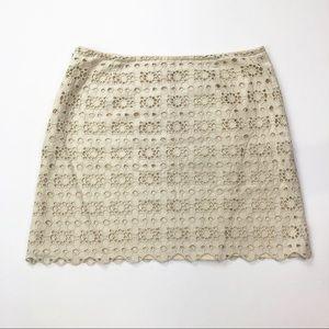 J. Crew Daisy Eyelet Mini Skirt Size 0